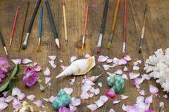 Строка brushand подняла, раковины раковины, образование коралла на de Стоковое Фото