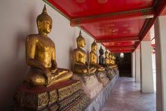 Строка Buddhas на виске в Бангкоке стоковые фотографии rf
