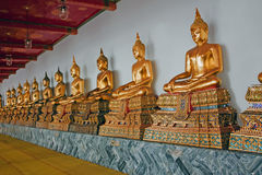 Строка Buddhas на Wat Pho Бангкок Таиланд стоковые фото