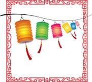 Строка decorati фонариков яркой смертной казни через повешение китайского Стоковая Фотография RF
