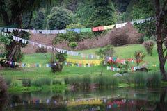 Строки буддийской молитвы сигнализируют над озером стоковое изображение
