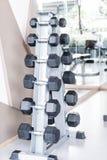 Строки гантелей в спортзале Стоковая Фотография RF