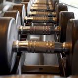 Строки гантелей спорт в спортзале Стоковое фото RF