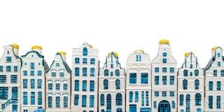 Строки домов канала Амстердама фарфора Стоковые Фотографии RF