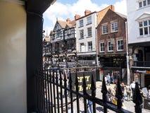 Строки здания Tudor черно-белые в Честере Англии Стоковое Фото
