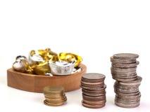 Строки монеток показывают увеличение Стоковые Изображения RF