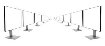 2 строки мониторов отступая в расстояние Стоковая Фотография RF