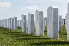 Строки надгробных камней на кладбище Miramar национальном Стоковые Фотографии RF