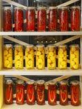 Строки опарников замаринованных перцев и лимонов на шкафе Стоковые Фото