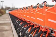 Строки оранжевой езды деля велосипеды стоковая фотография