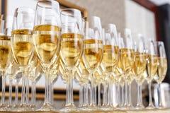 Строки полных стекел шампанского или игристого вина Стоковые Фото