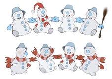 2 строки рождества Snowmans шарж Стоковое Изображение