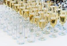Строки рюмок заполнили с шампанским и строками пустой Стоковые Изображения RF