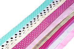 Строки текстурированных запятнанных лент на белизне Стоковая Фотография RF