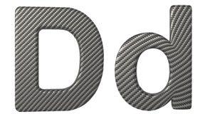 Строчная буква и прописные буквы шрифта d волокна углерода Стоковое Изображение RF