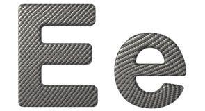 Строчная буква и прописные буквы шрифта e волокна углерода Стоковая Фотография RF