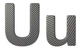 Строчная буква и прописные буквы шрифта u волокна углерода Стоковые Изображения RF