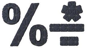 Строчная буква сшила проценты, черточку и звездочку шрифта Стоковое Фото