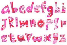 Строчный алфавит влюбленности Стоковые Изображения