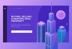 Строящ и продающ концепции против неба подъема зданий высокого Коммерчески арендуя реальная собственность для вашего дела бесплатная иллюстрация