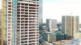Строя небоскребы в Китае сток-видео