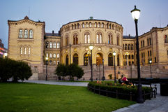 строя норвежский парламент Осло Стоковые Фотографии RF