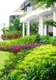 строя цветастый сад landscaped офис Стоковое Фото