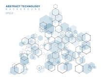 Структура конспекта голубая шестиугольная молекулярная системы нейронов Предпосылка цифровой технологии Будущий геометрический ша иллюстрация штока
