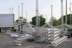 Структура металла подготовленная для того чтобы поставить собрание Этап для выставок и представления в Parque das Nações IndÃge Стоковое Изображение