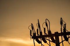 Структура поляка напряжения тока силуэта электрическая Стоковая Фотография