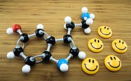 Структура серотонина молекулярная Стоковые Фото