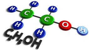 структурная химическая формула этанол C2H5OH перевод 3d Иллюстрация цифров на белой предпосылке Стоковые Изображения