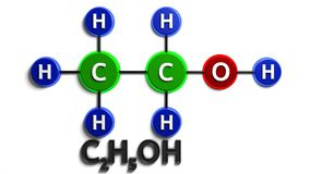 структурная химическая формула этанол C2H5OH перевод 3d Иллюстрация цифров на белой предпосылке Стоковая Фотография