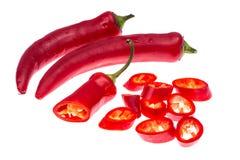 Стручки красного перца Chili изолированные на белой предпосылке Стоковое Изображение
