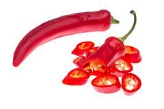 Стручки красного перца Chili изолированные на белой предпосылке Стоковые Изображения RF