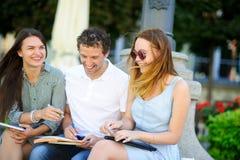 3 студента подготавливают для экзаменов Стоковое фото RF