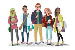 студенты группы счастливые бесплатная иллюстрация