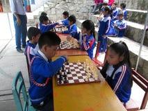 Студенты играя шахмат стоковые фотографии rf