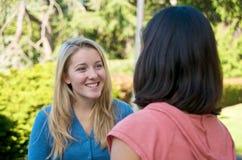 студенты кампуса говоря университет Стоковое Изображение RF