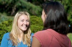 студенты кампуса говоря университет Стоковые Изображения RF