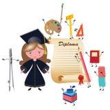 студент-выпускник девушки Стоковое Изображение