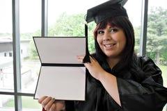 студент-выпускник диплома она Стоковое Изображение