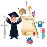 студент-выпускник мальчика Стоковые Фото