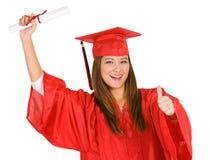 Студент-выпускник: Студентка давая большие пальцы руки вверх Стоковое Изображение RF