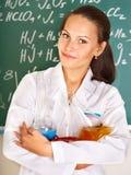 студент девушки склянки химии Стоковое Изображение RF