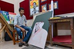 Студент на мастерской коллежа искусства в Индии Стоковая Фотография