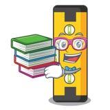 Студент с уровнем духа книги в сумке мультфильма иллюстрация вектора