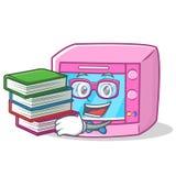 Студент с шаржем характера микроволны печи книги иллюстрация штока