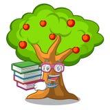 Студент с яблоней книги в земледелии мультфильм иллюстрация штока