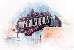 Студии Universal очаровывают, Голливуд, Лос-Анджелес - США иллюстрация штока